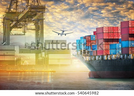 Container cargo ship and cargo plane with port crane bridge in harbor at sunset sky, Freight Transportation, Shipping #540645982