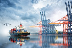 Container Cargo ship and Cargo plane with working crane bridge in seaport , logistic import export background and transport industry.