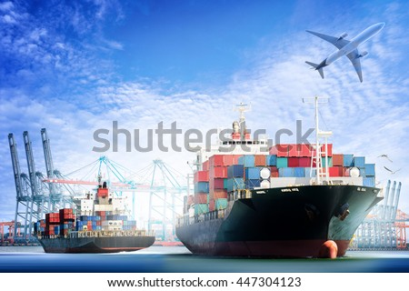 Container Cargo ship and Cargo plane with working crane bridge in shipyard background, logistic import export background and transport industry. stock photo