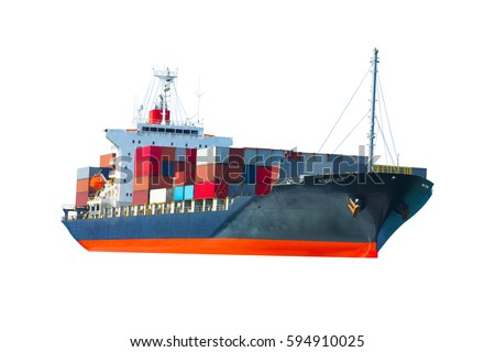 Container cargo ship for maritime freight , water transportation network industry concept on white back ground. #594910025