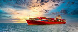 Container cargo ship, Freight shipping maritime vessel., Global business import export commerce trade logistic and transportation worldwide by container cargo ship boat in the open sea