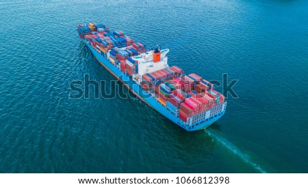 Container cargo ship import and export business logistic, Freight transportation shipping import export, Aerial view.