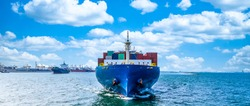 Container cargo ship in ocean, Business industry commerce global import export logistic transportation oversea worldwide, Sea shipping company vessel.