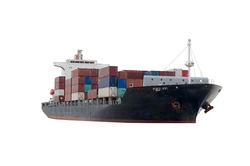 Container Cargo ship in the ocean isolated on white background, Freight Transportation