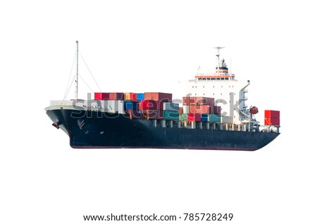 Container Cargo ship in the ocean isolated on white background, Freight Transportation around the world is popularly used by modern containers and container ships.