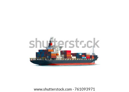 Container cargo ship on white background isolate ,international terminal port with throughput Capacity import export goods freight ship.