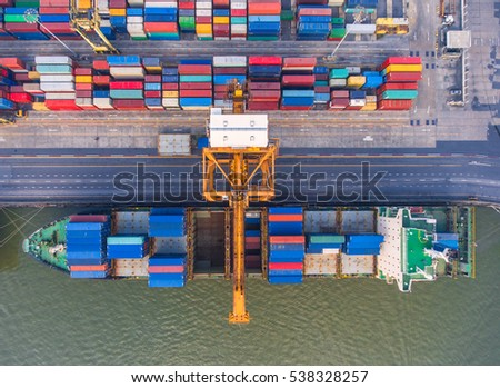 container,container ship in import export and business logistic.By crane ,Trade Port , Shipping.cargo to harbor.Aerial view.Water transport.International.Shell Marine.transportation.