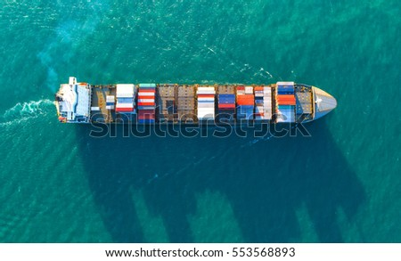 container,container ship in import export and business logistic.By crane ,Trade Port , Shipping.cargo to harbor.Aerial view.Water transport.International.Shell Marine.Top view.business, logistic..