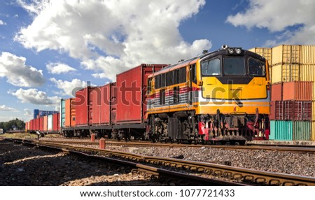 Container Freight Train with cloudy sky.
