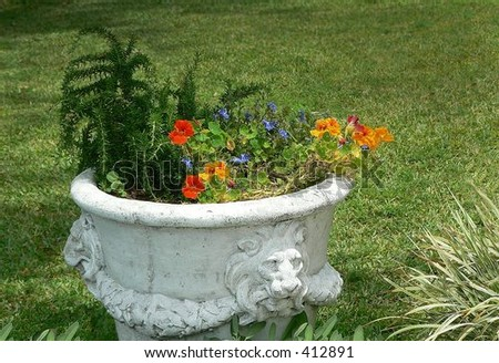 Container garden in ancient looking stone urn on bright sunny day with grass background good for DIY and landscaping