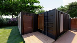 container house made from  modern metal building in graden