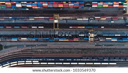 container in aerial view
