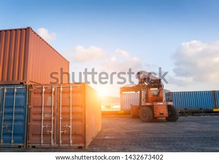 Container in the yard  and Container lifting put on the train