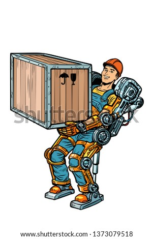 container loader. working in the exoskeleton. Pop art retro  illustration kitsch vintage drawing