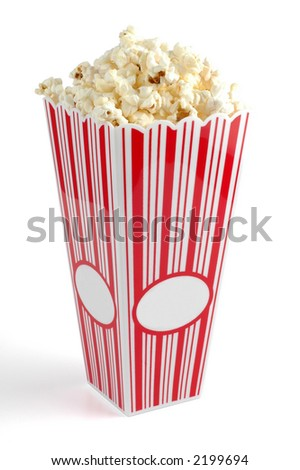 Container of freshly popped corn