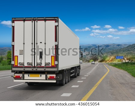 Container on the big highway. transport loads #436015054