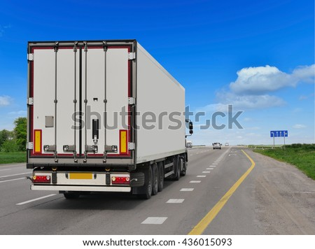 Container on the big highway. transport loads #436015093