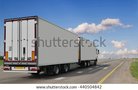 Container on the big highway. transport loads #440504842