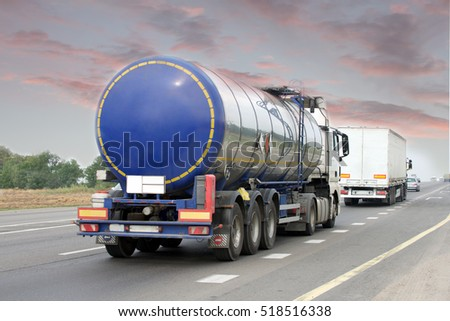 Container on the big highway. transport loads #518516338
