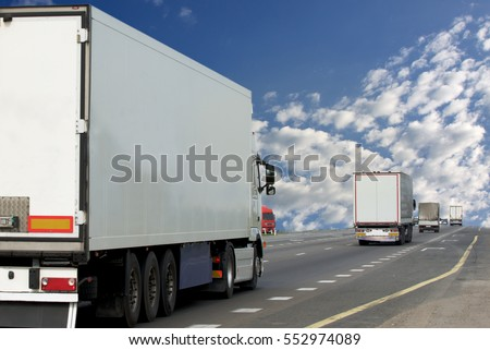 Container on the big highway. transport loads          #552974089