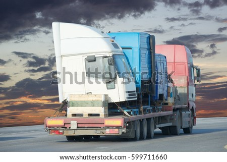 Container on the big highway. transport loads         #599711660