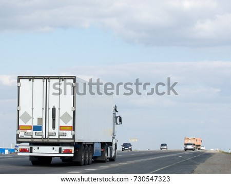 Container on the big highway. transport loads #730547323