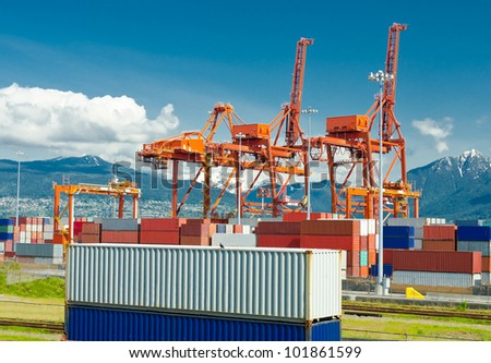 Container port terminal  in Vancouver,  BC, Canada.