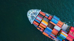 Container ship aerial top view close up, Global business logistic freight shipping import export international by container ship vessel in the open sea, Container cargo industrial freight shipment.