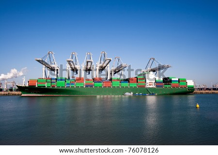 Container ship and cranes in a harbor