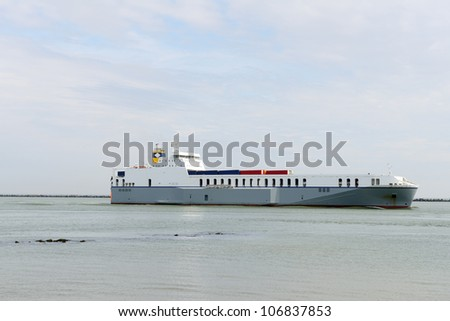container ship  approaching the harbor of rotterdam