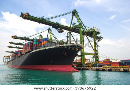 container ship berthing for import and export container box in port