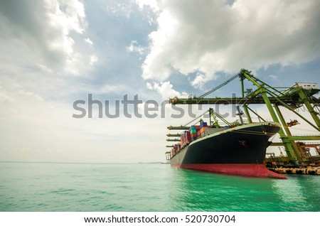 container ship berthing for import and export container box in port, copy space on Left side