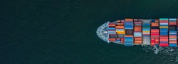 Container ship carrying container for import and export, business logistic and transportation by container ship in open sea, Aerial view container cargo ship with copy space for design banner web