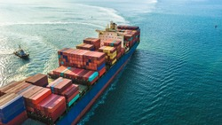 Container ship, Freight business import export logistic and transportation of International container cargo ship in the open sea, Aerial view maritime container freight shipping.