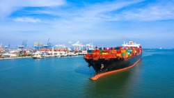 Container ship, Freight shipping maritime vessel container box, Global business import export commercial trade logistic and transportation international oversea worldwide by container cargo ship boat.