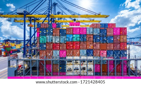 Container ship import export global business commercial trade logistic and transportation oversea worldwide by container cargo vessel ship, Seaport terminal with crane container cargo freight shipping