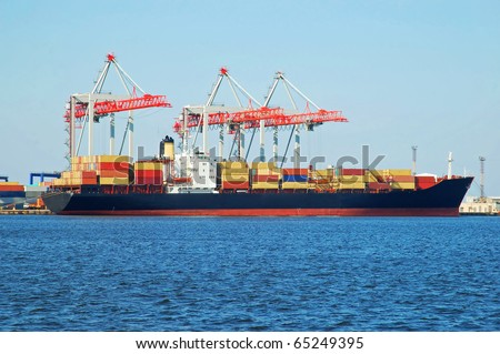 Container ship in a sea industrial freight port