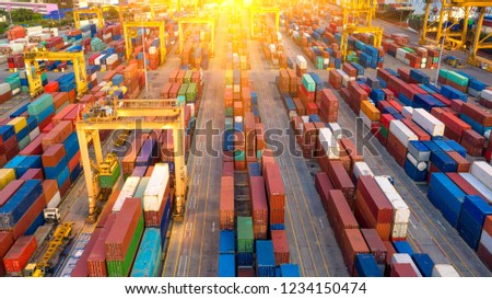 Container ship in export and import business and logistics. Shipping cargo to harbor by crane. Water transport International. Aerial view and top view. #1234150474