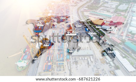 Container ship in import export and business logistic, By crane,Trade Port, Shipping cargo to harbor, Aerial view from drone, International transportation, Business logistics concept