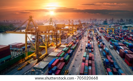 Container ship in import export and business logistic, By crane, Trade Port, Shipping cargo to harbor, Aerial view from drone, International transportation, Business logistics concept #705020668