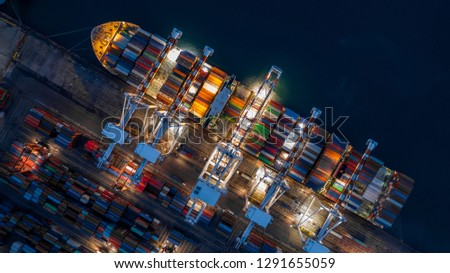 Container ship in import export business logistic at night, Aerial top view of container ship. #1291655059
