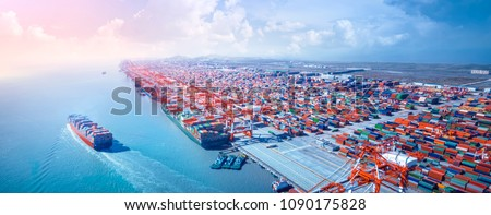 Container ship leaving the port,aerial view. - Shutterstock ID 1090175828