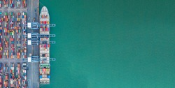 Container ship loading and unloading in deep sea port, Aerial view of business logistic import and export freighter  transportation by container ship maritime, Container loading cargo freight ship.
