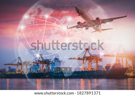 Container Ship Loading Import/Export Freight of Transportation Industry, Transport Crane Lifting Box Containers at Port Cargo Shipping Dock Yard. Logistic Freighting Ship Service of Global Business