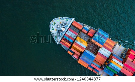 Container ship, Logistic business freight shipping import export international by container ship vessel in the open sea, Aerial top view container cargo freight shipment.