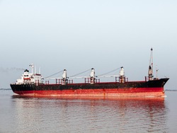 Container Ship, Old freighter ocean ship in import export logistic business and international transportation