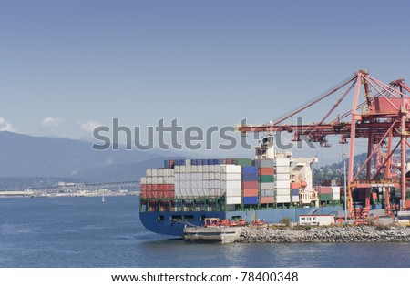 Container Ship on commercial Dock - Port of Vancouver, British Columbia, Canada