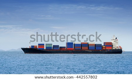 Container ship sailing in the morning