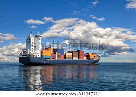Container ship sailing in to the sea.