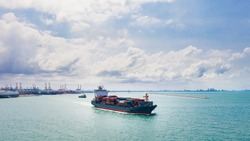 Container ship sailing the ocean, Business cargo logistics service and transportation of International container ship in the ocean freight transportation, Aerial view Container loading cargo freight